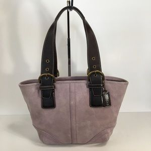 Coach 9522 Suede Tote Bag with Leather Handles